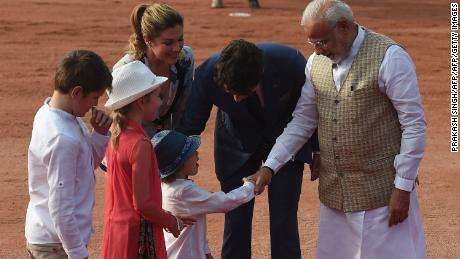 India's Prime Minister Narendra Modi meets Canada's Prime Minister Justin Trudeau's family at the Presidential Palace in New Delhi on February 23, 2018.