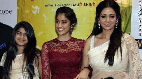 "Sridevi, right, with her daughters Jhanvi, center, and Khushi in 2012 at the premiere of ""English Vinglish."""