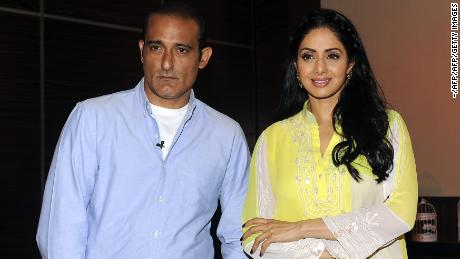 "Actor Akshaye Khanna attends a promotional event with Sridevi for the film ""Mom in Mumbai"" in June 2017."
