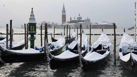 Venice has seen an unusual amount of snow this week.