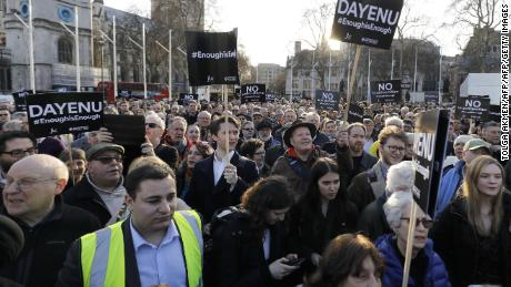 Members of the Jewish community protest against Labour Party leader Jeremy Corbyn in March.