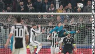 Cristiano Ronaldo of Real Madrid scores his sides second goal during the UEFA Champions League Quarter Final Leg One match between Juventus and Real Madrid at Allianz Stadium on April 3, 2018 in Turin, Italy.