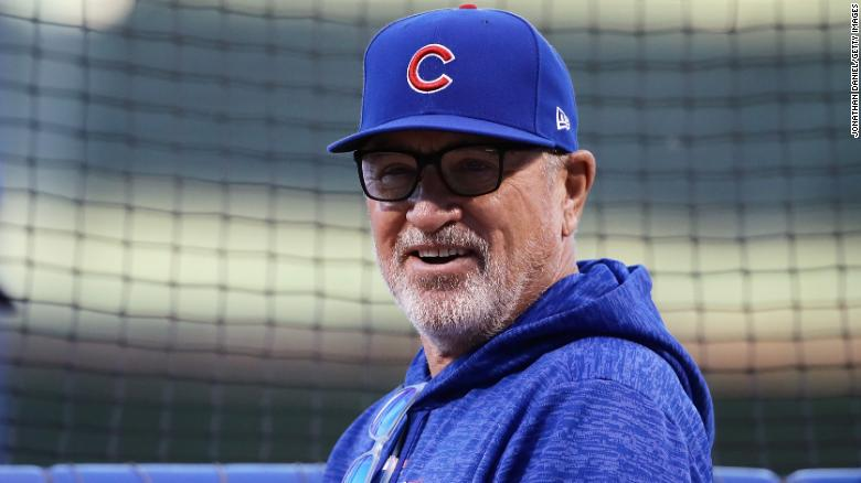 Maddon looks on before the third game of the National League Championship Series in October.