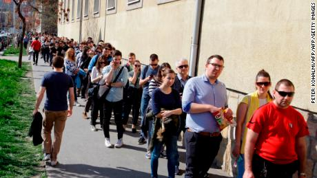 Long lines were reported at polling stations across the country.