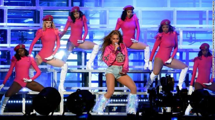 Beyoncé on stage at Coachella during her second show