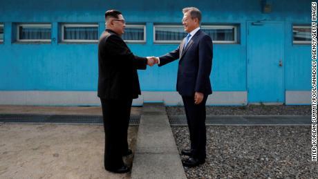 South Korean President Moon Jae-in and North Korean leader Kim Jong-un meet at the Military Demarcation Line at the DMZ, April 27.