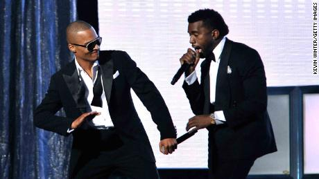 Rappers T.I. (L) and Kanye West perform during the 51st Annual Grammy Awards in 2009.