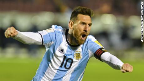 Argentina's Lionel Messi celebrates after scoring against Ecuador during their 2018 World Cup qualifier in Quito, Ecuador.