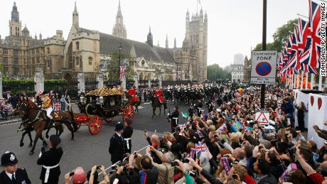 Well-wishers turn out for the 2011 wedding of Prince William and Catherine, the Duchess of Cambridge.