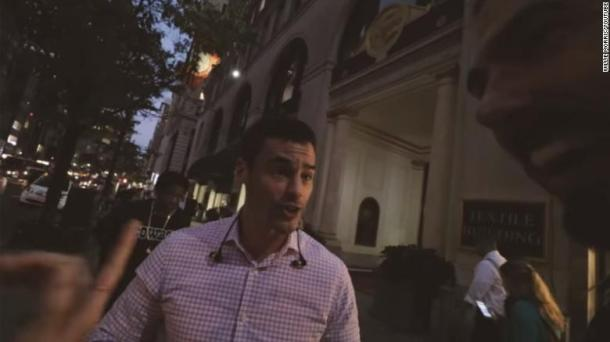 A screenshot from Willie Morris' video of an angry sidewalk encounter in New York in October 2016.