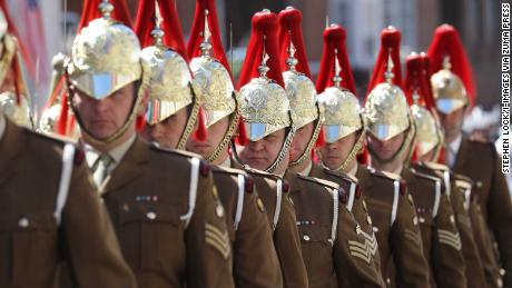 Members of the Armed Forces take part in a rehearsal ahead of the royal wedding.