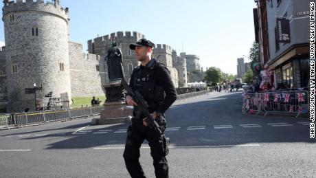 Armed police are present Thursday ahead of a dress rehearsal for the royal wedding at Windsor Castle.
