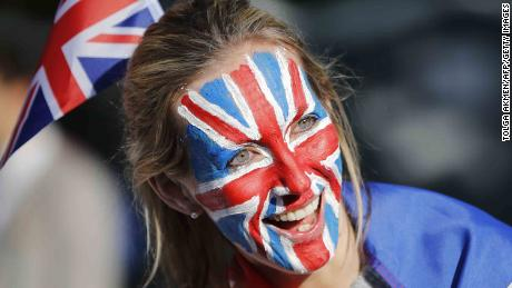 Many wore Union flag facepaint or outfits to the celebrations.