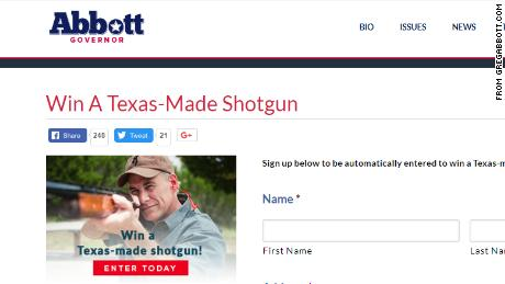 Greg Abbotts Website Still Had A Form To Enter The Shotgun Giveaway Up On