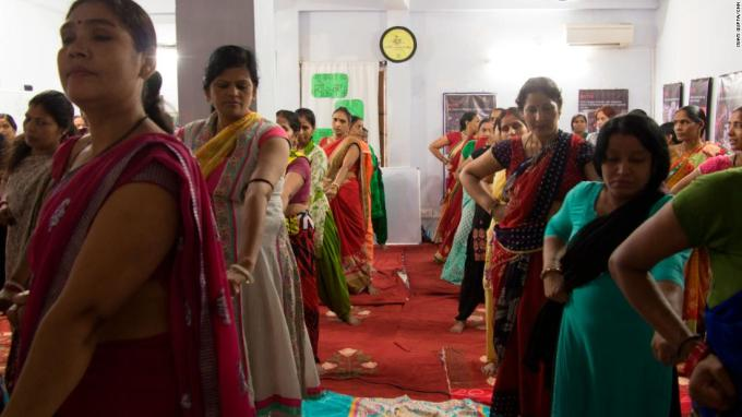 Indian women at Goonj practice self-defense moves in New Delhi, India.