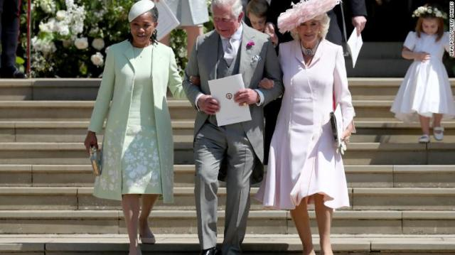 Doria Ragland, Prince Charles, and his wife Camilla, Duchess of Cornwall after the wedding on Saturday.
