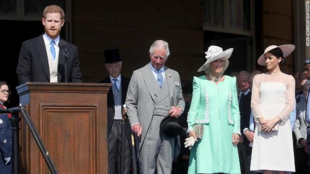 Harry, pictured left, gives a speech next to Prince Charles, his wife Camilla, and Meghan, at Tuesday's party.