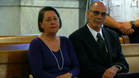 Christina and Mark Rotondo sit in the courtroom during the proceedings.