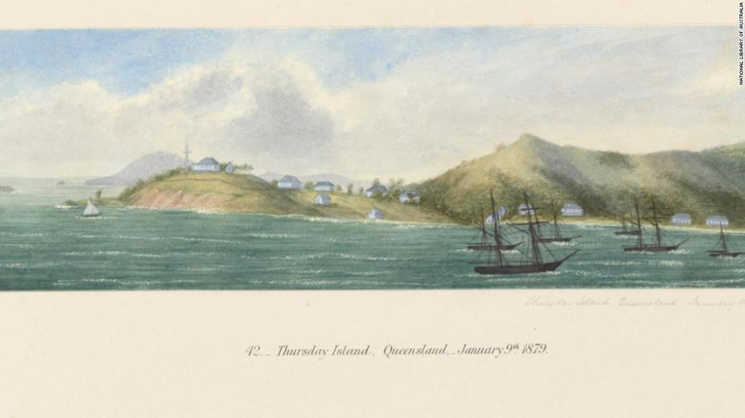 A sketch of Thursday Island, in the Torres Strait, by Thomas George Glover in 1879.