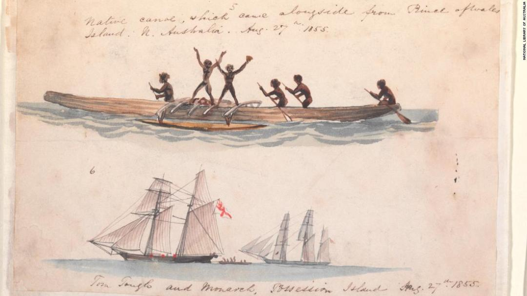 A sketch of a canoe at Prince of Wales Island, in the Torres Strait, drawn by Thomas Baines in 1855.