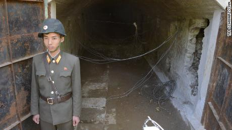 Inside the tunnels, bundles of explosives could be seen rigged to blow.