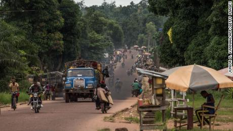 Traffic in the city of  Mbandaka, in northwest Congo, in May 2018, during a previos Ebola outbreak.