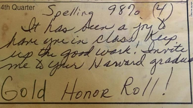 Mrs. Toensing wrote a note on this 12-year-old's report card back in 1997.