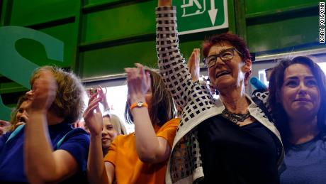 Ailbhe Smyth, co-director of the pro-repeal umbrella group Together for yes, greets supporters at the count in Dublin on Saturday.