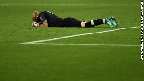Karius was dejected after the final whistle.