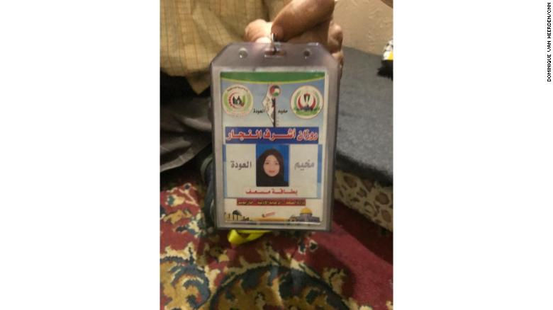 Razan al-Najjar's medical ID.