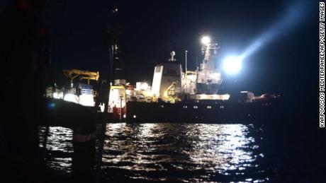 A picture taken on June 9 shows the Aquarius during an operation to rescue migrants.