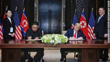 Trump and Kim  during their summit at the Capella Hotel on Sentosa island on June 12 in Singapore.