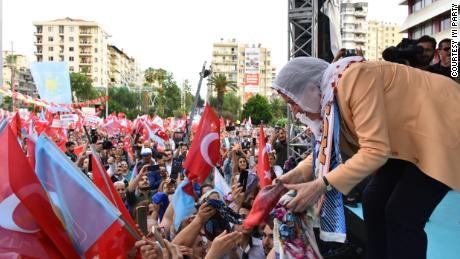 Aksener collects headscarves from women in Adana.