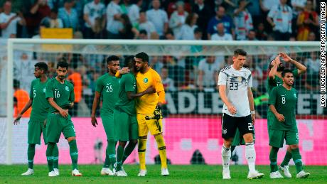 Saudi Arabia's players come together following the World Cup warm up defeat to Germany.