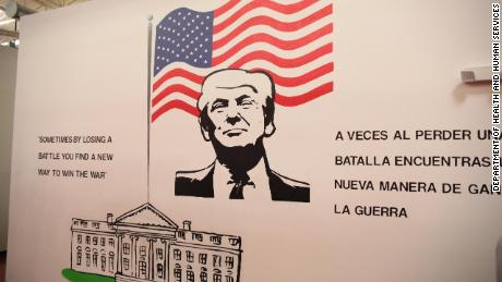 A mural of President Donald Trump at the shelter.