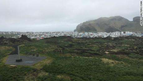 The town of Vestmannaeyjar in the distance is home to Icelandic national coach Heimir Hallgrimsson.