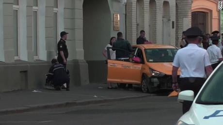 A taxi driver was detained after hitting pedestrians in central Moscow on Saturday.