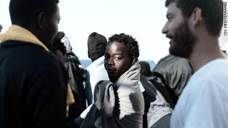 A migrant on board the rescue ship Aquarius in June, as the ship headed for Spain.