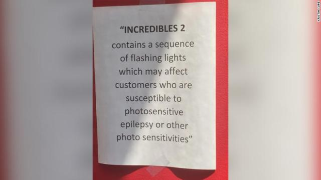"""A warning sign for """"Incredibles 2"""" was spotted at AMC Dublin Village 18 near Columbus, Ohio."""