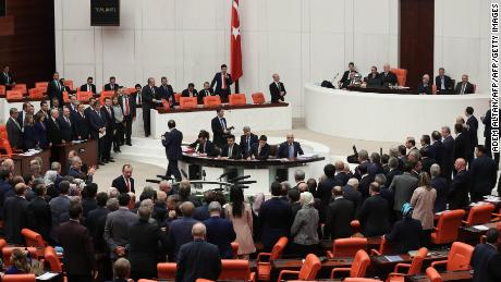 Turkish MPs vote on snap elections in parliament on April 20.