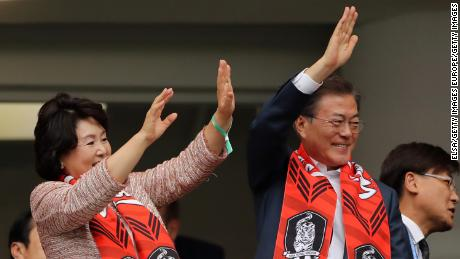 South Korean President Moon Jae-in watches from the stands as his side fall to defeat