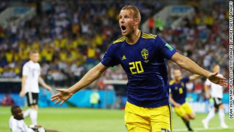Ola Toivonen gave the Swedes a shock lead after 32 minutes.