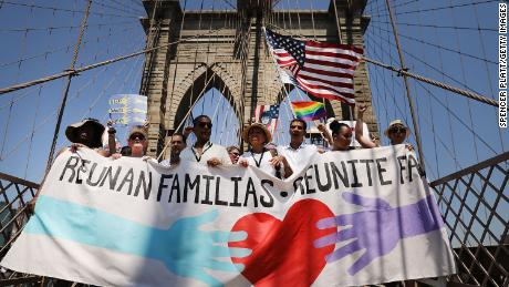 Thousands marched across the Brooklyn Bridge in New York City.