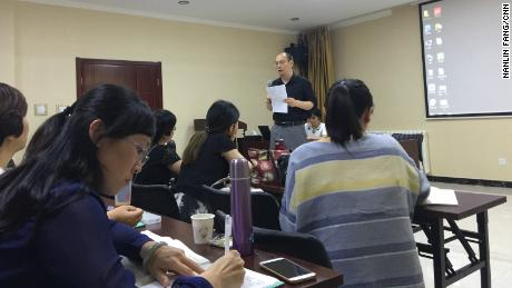 Fang Gang teaching people who want to be sex educators in Beijing.