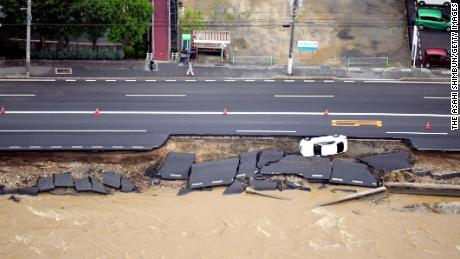 Heavy rains caused highway erosion in Hiroshima.