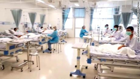 The rescued Thai boys, in a video grab, shown in their hospital beds.