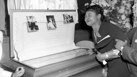Mamie Till-Mobley weeps at her son's funeral on September 6, 1955, in Chicago.