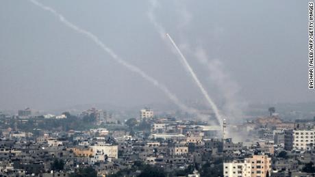 Palestinian rockets are fired Saturday from Gaza City toward Israel.