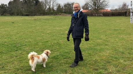 Phil Rech and his dog Binky after his second cancer diagnosis in 2017.