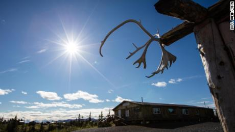 Caribou antlers in Heroes Park in Arctic Village, Alaska, dedicated to those who fought to preserve the environment.